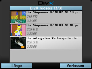 Video-Auswahl - DIVX-Player